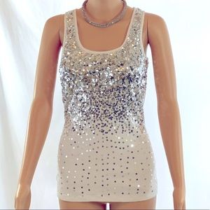 Silver Sequin Stand Out Tank Haute Couture